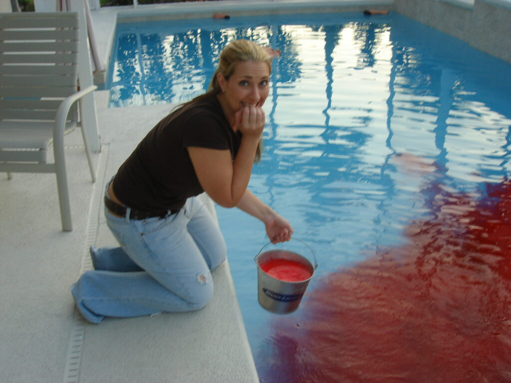 Party Pool, Rockin Red, adding to pool